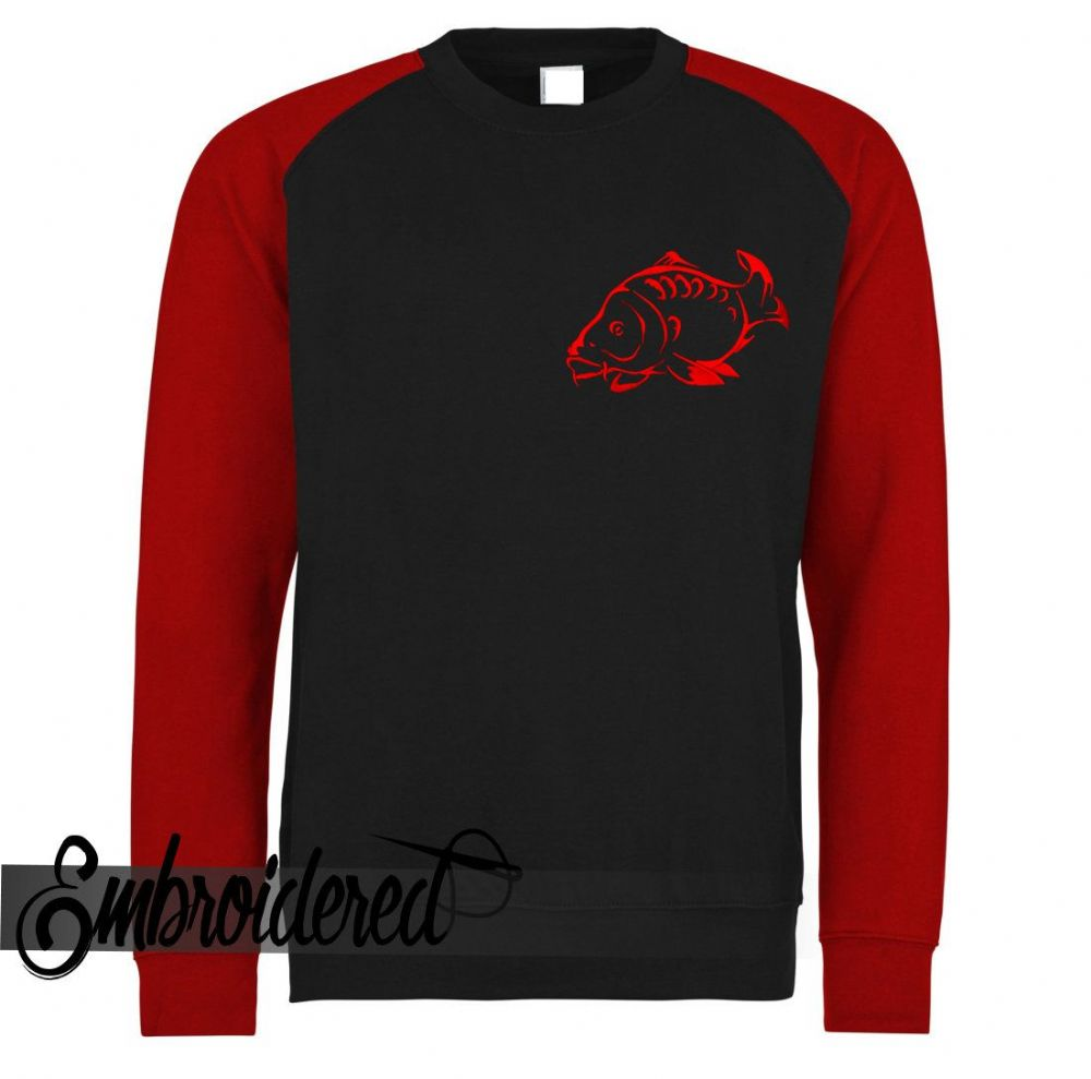 CLRN001 EMBROIDERED SWEATER  BLK/RED FRONT LOGO ONLY